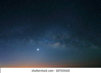 Sunrise in the morning, Landscape of Milky Way beautiful sky