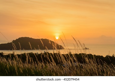 Sunrise in the morning at new viewpoint in Ao-makham Phuket Thailand, selective focus, blur foreground and silhouette