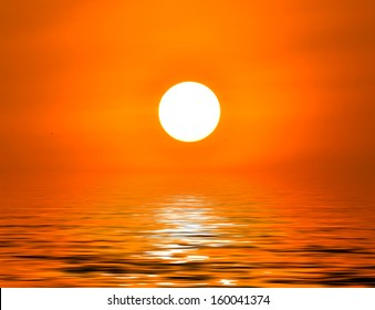 Sunrise in the morning reflected in water
