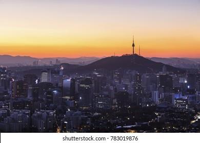 Sunrise morning at Seoul  South Korea