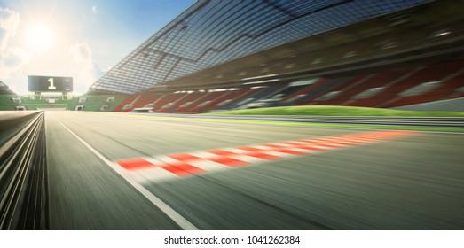 Sunrise motion blur effect asphalt international race track with