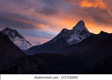 Sunrise with Mount.Ama Dablam at Kyangjuma village road to Everest base camp 2019