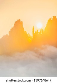 Sunrise of Mount Huangshan (Yellow Mountains). UNESCO World Heritage Site. Located in Huangshan, Anhui, China.