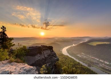 Sunrise at Mount Lilienstein in Saxon Switzerland
