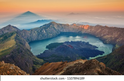 Sunrise from Mount Rinjani, Lombok, Indonesia,