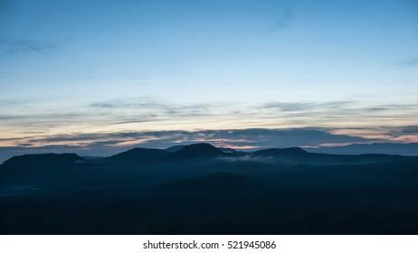 Sunrise in the mountain.