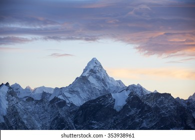 The sunrise of mountain Ama Dablam in Nepal