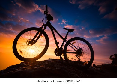 Sunrise. Mountain bike at Mines View Park, Baguio City, Philippines.