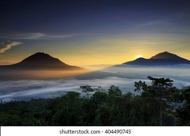 sunrise Mountain location Mountain Batur kintamani bali indonesia