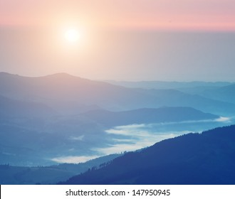 Sunrise in mountain. Nature composition.