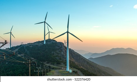 Sunrise mountain windmill