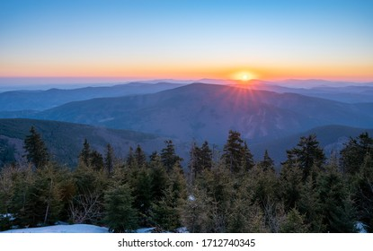 sunrise in the mountains early in the morning, czech beskydy