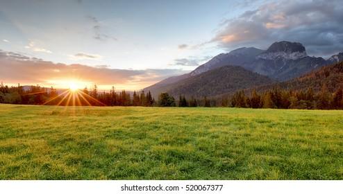 Sunrise in mountains landscape, Slovakia, Tatranska Javorina