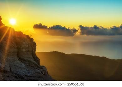 Sunrise in mountains, nature background. Photo taken on Ay Petri peak, Ukraine.