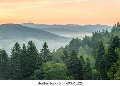 Sunrise in mountains near Ustrzyki Dolne