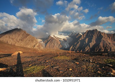 Sunrise in the mountains, panorama landscape, Altay