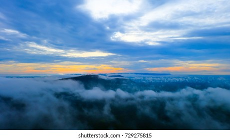 Sunrise in the mountains, panorama landscape, natural background, Preah Vihear Thailand.Mist in the morning. - Shutterstock ID 729275815