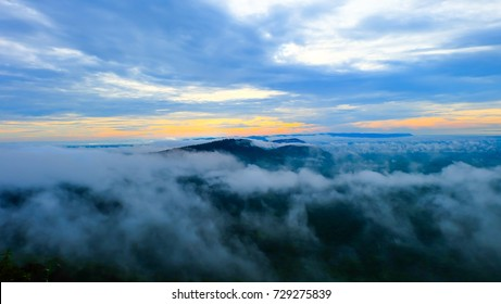 Sunrise in the mountains, panorama landscape, natural background, Preah Vihear Thailand.Mist in the morning. - Shutterstock ID 729275839