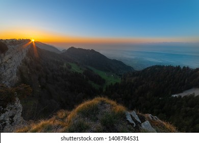 Sunrise in the mountains. Silently and all alone enjoy the peace and quiet of nature. The beauty of the landscape is very close. stay and wait for the sunset.