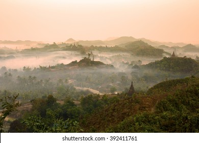 Sunrise Mrauk U in the northern part of the Rakhin State, Myanmar.
