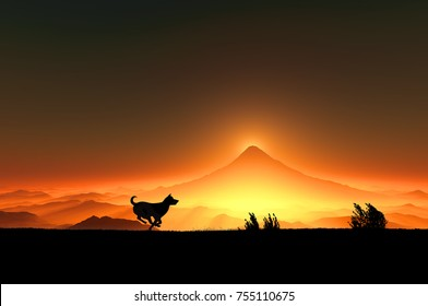 The sunrise of Mt. Fuji and the silhouette of the running dog (3D illustration)