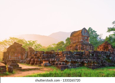 Sunrise at My Son Sanctuary and Hindu Temple near Hoi An, Vietnam, Asia. Heritage of Champa Kingdom. Myson History and Culture. Shiva city ruins. Vietnamese Museum. Hinduism Civilization on Holy Land