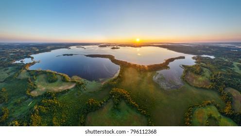 Sunrise in National Park Narachanski, aerial photo