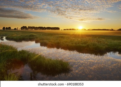 Sunrise in national wetlands park 'Biesbosch' near the town of 'Werkendam', Netherlands