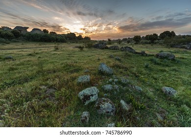 Sunrise in the Natural Area of Barruecos. Extremadura. Spain.
