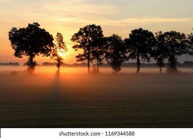 Sunrise in the Netherlands state Overijssel