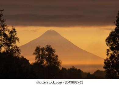 A sunrise next to the Osorno Volcano at Puerto varas city, Chile