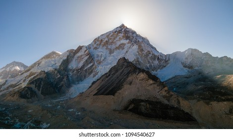 Sunrise and Nuptse Mt. viewed from way to Gorak shep village.