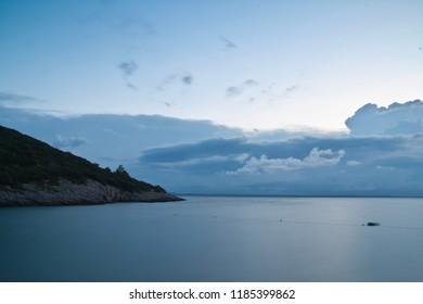 A Sunrise at the ocean in croatia, losinj