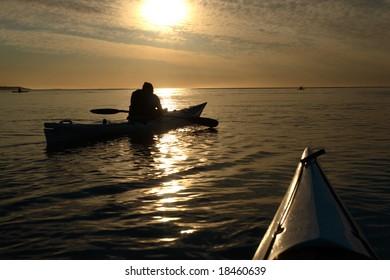 Sunrise ocean kayak canoe