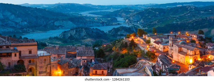 Sunrise old medieval Stilo famos Calabria village view, southern Italy.