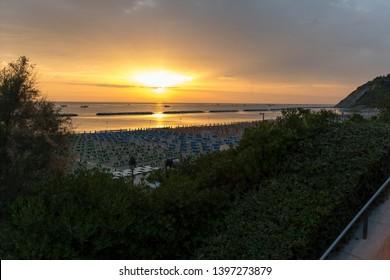 Sunrise on the Adriatic Sea near the beach of Gabicce Mare Italy
