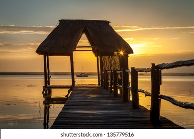 Sunrise on the Bacalar lagoon, Mexico, Riviera Maya