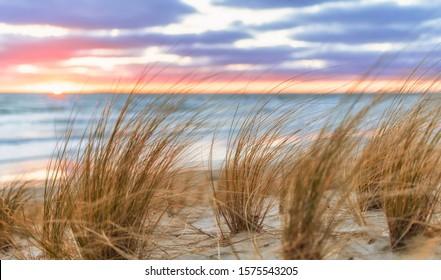Sunrise on the Baltic Sea Sand beach on Rügen near Lobbe