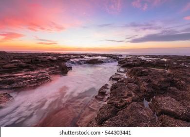 Sunrise On the Bar Beach in Newcastle NSW Australia.