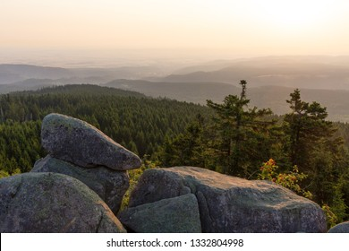 Sunrise on the bars cliff in the Harz mountains