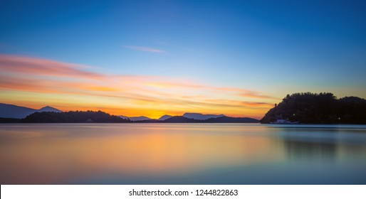 Sunrise on the bay of Nidri in Lefkas Ionian  island Greece