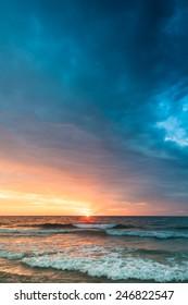 Sunrise on the beach of Cala Millor