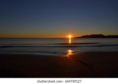 Sunrise on the beach, coastline of Brazil South America, in the city of Itapema