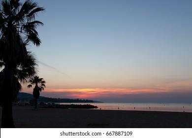 Sunrise on the beach in France, Saint-Tropez