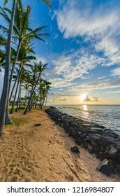 Sunrise on a beach in Kauai, Hawaii, USA