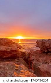 Sunrise on the beach of Oropesa del Mar, Costa Azahar, Spain