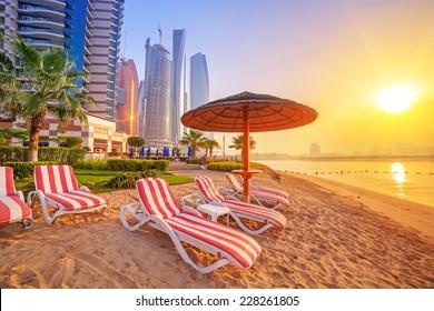 Sunrise on the beach at Perian Gulf in Abu Dhabi