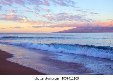 Sunrise on Beach with Waves