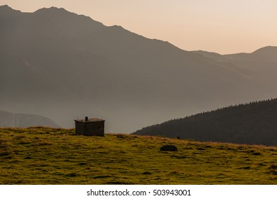 Sunrise on Beille plateau in Pyrenees, France