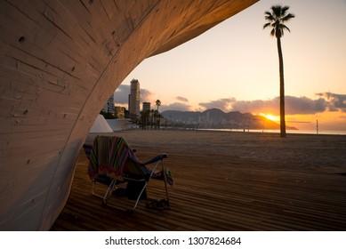 Sunrise on Benidorms Poniente beach, Costa Blanca, Spain